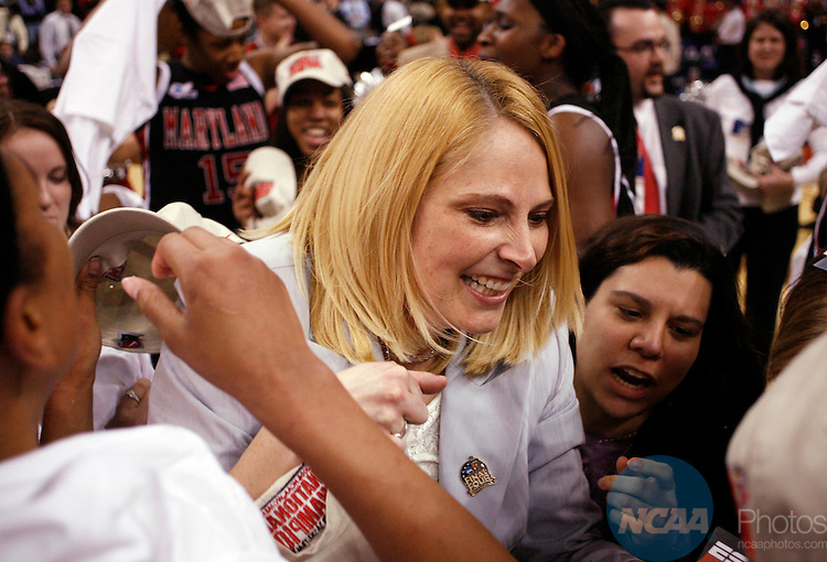 04 APR 2006:  Head Coach Brenda Frese of the University of Maryland celebrates after defeating Duke University during the Division I Women's Basketball Final Four Championship held at the TD Banknorth Garden in Boston, MA.  Maryland defeated Duke 78-75 for the national title.  Jamie Schwaberow/NCAA Photos