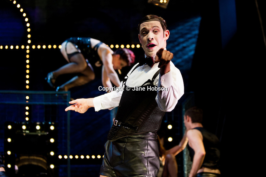 London, UK. 08/10/2012. CABARET, starring Will Young and Michelle Ryan, making their West End Theatre debuts, and choreographed by Javier de Frutos, opens at the Savoy Theatre. The production has been completely reimagined by Rufus Norris. Picture shows: Will Young (Emcee) and the ensemble. Photo credit: Jane Hobson.
