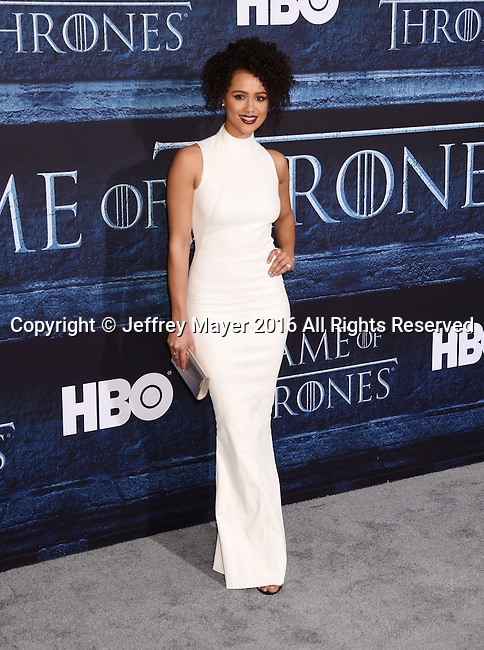 HOLLYWOOD, CA - APRIL 10: Actress Nathalie Emmanuel arrives at the premiere of HBO's 'Game of Thrones' Season 6 at the TCL Chinese Theatre on April 10, 2016 in Hollywood, California.