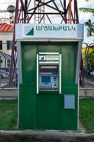 Nagorno-Karabakh, also known as Artsakh, is a landlocked region in the South Caucasus. Stepanakert is the capital and the largest city of the Republic of Artsakh (better known as Nagorno-Karabakh). Artsakhbank ATM machine. Nagorno-Karabakh is a disputed territory, internationally recognized as part of Azerbaijan, but most of the region is governed by the Republic of Artsakh (formerly named Nagorno-Karabakh Republic), a de facto independent state with Armenian ethnic population.  Since 1994, regular peace talks between Armenia and Azerbaijan mediated by the OSCE Minsk Group have failed to result in a peace treaty. 7.10.2019 © 2019 Didier Ruef