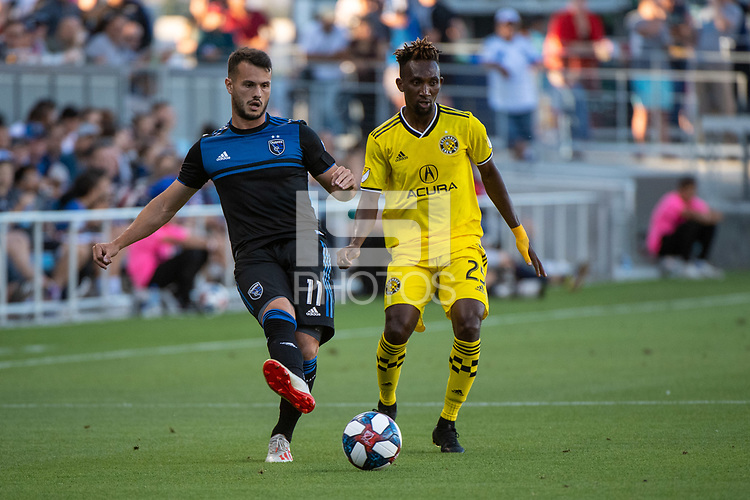 San Jose, CA - Saturday August 03, 2019: Harrison Afful #25, Vako Qazaishvili #11,  in a Major League Soccer (MLS) match between the San Jose Earthquakes and the Columbus Crew at Avaya Stadium.