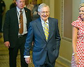 United States Senate Majority Leader Mitch McConnell (Republican of Kentucky) walks from the US Senate Chamber to his US Capitol office after releasing his newest version of the bill to repeal and replace Obamacare in the US Capitol in Washington, DC on Thursday, July 13, 2017.<br /> Credit: Ron Sachs / CNP