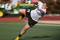In a National Women's Soccer League Elite (NWSL) match, the Boston Breakers defeated the Western New York Flash  2-1, at Dilboy Stadium on May 5, 2013.  Boston Breakers goalkeeper Ashley Phillips (24) saves the ball during warm-ups before the game.