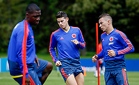 BOGOTA, COLOMBIA - JUNE 5: Colombia's national team soccer players James Rodriguez (C), Cristian Zapata (L) and Matheus Uribe (R), attend a training session  on June 5, 2019 in Bogota, Colombia. Colombia will face Argentina, Paraguay and Qatar on their first stage of the Copa America Brazil 2019.  (Photo by VIEWPRESS/Leonardo Muñoz)