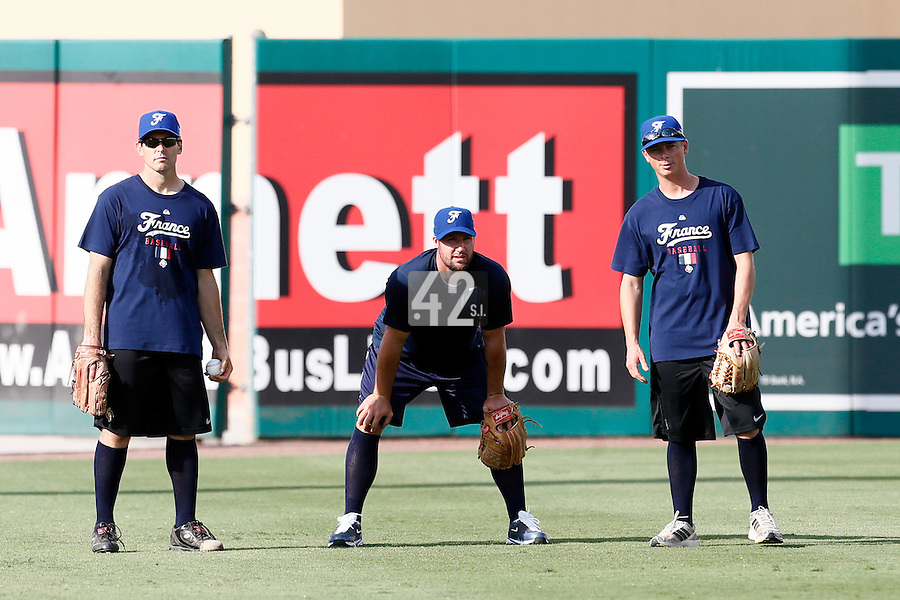 18 September 2012: France Patrice Briones, Eric Gagne and Anthony Piquet are seen during Team France practice, at the 2012 World Baseball Classic Qualifier round, in Jupiter, Florida, USA.