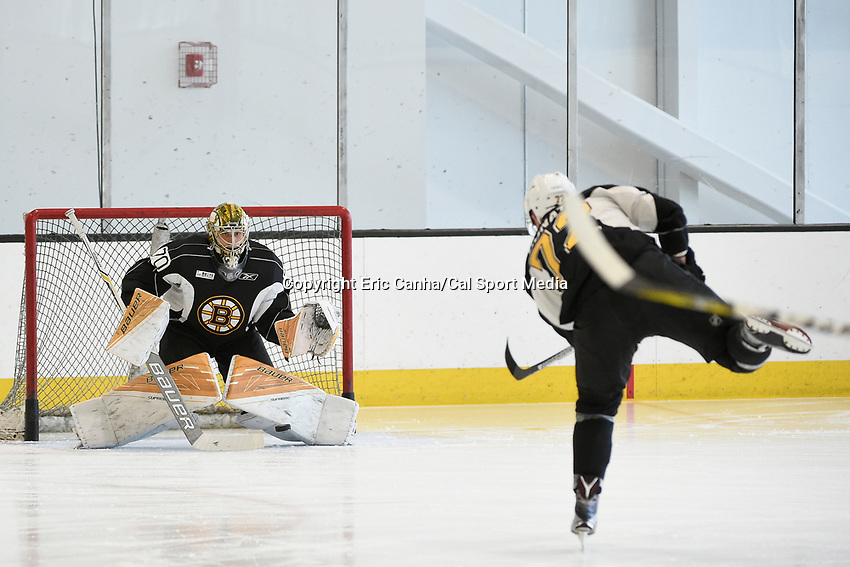 July 8, 2017: Boston Bruins forward Ryan Donato (72) shoots against goalie Dan VlAdar (70)  during the Boston Bruins development camp held at Warrior Ice Arena in Brighton, Massachusetts. Eric Canha/CSM