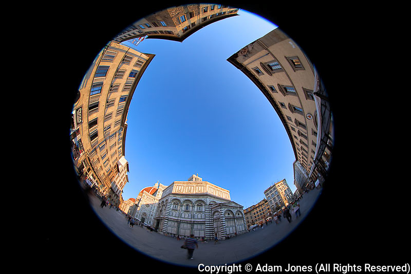 Fisheye view of Florence Cathedral in Piazza della Signoria, Florence, Italy