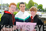 Killarney Community College leaving cert students Michael McSweeney, Micheal Allman and Siobhan McGillicuddy pictured after their English Paper one exam on Wednesday.