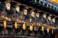 Wood carvings at Jokhang Temple Tibet s most revered temple Lhasa Tibet.