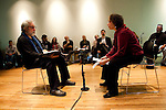 "Larry Winters (L), Vietnam Veteran and author of ""The Making and Un-Making of A Marine"" and a participant (R) take part in the Veteran-Civilian Dialogue at Intersections International on February 4, 2011 in New York City.  (PHOTOGRAPH BY MICHAEL NAGLE)"