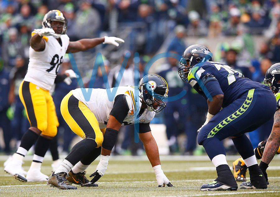 Cameron Heyward #97 of the Pittsburgh Steelers in action against the Seattle Seahawks during the game at CenturyLink Field on November 29, 2015 in Seattle, Washington. (Photo by Jared Wickerham/DKPittsburghSports)