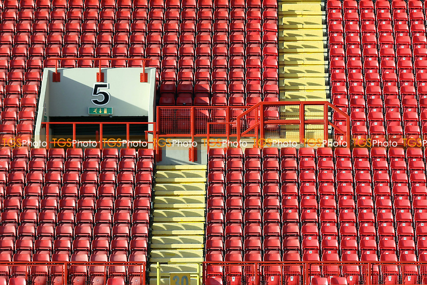 Seats in the main stand at Charlton during Charlton Athletic vs Wolverhampton Wanderers, Sky Bet Championship Football at The Valley, London, England on 28/12/2015