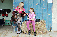3/8/2010. Emma 10 and Meabh 9 Byrne from Co Wexford are pictured at the RDS  getting ready for the start of the Fáilte Ireland Dublin Horse show. Picture James Horan/Collins Photos