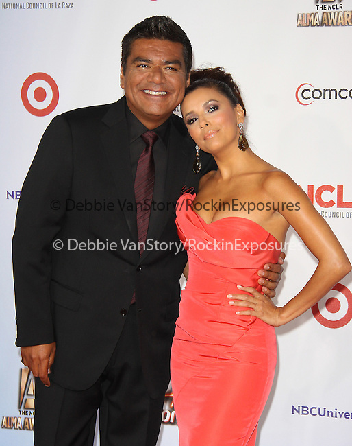 Eva Longoria and George Lopez at The 2011 NCLR ALMA Awards® held at the Santa Monica Civic Auditorium in Santa Monica, California on September 10,2011                                                                               © 2011 Hollywood Press Agency