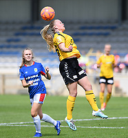 20190807 - DENDERLEEUW, BELGIUM : LSK's Therese Asland pictured with the header during the female soccer game between the Norwegian LSK Kvinner Fotballklubb Ladies and the Northern Irish Linfield ladies FC , the first game for both teams in the Uefa Womens Champions League Qualifying round in group 8 , Wednesday 7 th August 2019 at the Van Roy Stadium in Denderleeuw  , Belgium  .  PHOTO SPORTPIX.BE for NTB  | DAVID CATRY