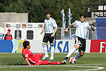 06 July 2007: North Korea's Kum Il Kim (7) slides in to challenge Argentina's Ever Banega (5) for the ball. Argentina's Under-20 Men's National Team defeated North Korea's Under-20 Men's National Team 1-0 in a Group E opening round match at Frank Clair Stadium in Ottawa, Ontario, Canada during the FIFA U-20 World Cup Canada 2007 tournament.