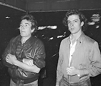 ***FILE PHOTO*** Albert Finney Has Passed Away at 82<br /> Albert Finney and Michael O'Keefe take in a Broadway Show in New York City. September 30, 1981 <br /> CAP/MPI/WMB<br /> ©WMB/MPI/Capital Pictures