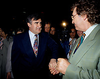 Montreal (Qc) CANADA - File Photo - May 1996 -<br /> <br /> Lucien Bouchard,  Leader Parti Quebecois (from Jan 29, 1996 to March 2, 2001). seen in a May 1996 file photo <br /> After the Yes side lost the 1995 referendum, Parizeau resigned as Quebec premier. Bouchard resigned his seat in Parliament in 1996, and became the leader of the Parti Qu&Egrave;b&Egrave;cois and premier of Quebec.<br /> <br /> On the matter of sovereignty, while in office, he stated that no new referendum would be held, at least for the time being. A main concern of the Bouchard government, considered part of the necessary conditions gagnantes (&quot;winning conditions&quot; for the feasibility of a new referendum on sovereignty), was economic recovery through the achievement of &quot;zero deficit&quot;. Long-term Keynesian policies resulting from the &quot;Quebec model&quot;, developed by both PQ governments in the past and the previous Liberal government had left a substantial deficit in the provincial budget.<br /> <br /> Bouchard retired from politics in 2001, and was replaced as Quebec premier by Bernard Landry.