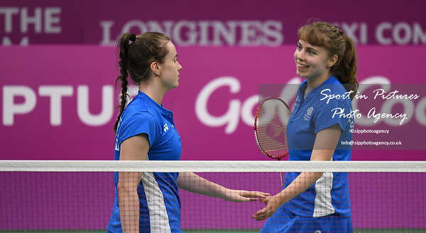 Eleanor O'DONNELL (SCO) and Julie MACPHERSON (SCO) celebrate in the womens doubles. Badminton. Mixed team event. XXI Commonwealth games. Carrara Sports hall 2. Gold Coast 2018. Queensland. Australia. 05/04/2018. ~ MANDATORY CREDIT Garry Bowden/SIPPA - NO UNAUTHORISED USE - +44 7837 394578
