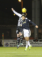 Rocco Quinn beats Tom Taiwo in the air in the St Mirren v Falkirk Scottish Professional Football League Ladbrokes Championship match played at the Paisley 2021 Stadium, Paisley on 1.3.16.