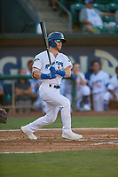 Andrew Shaps (14) of the Ogden Raptors at bat against the Missoula Osprey at Lindquist Field on August 12, 2019 in Ogden, Utah. The Raptors defeated the Osprey 4-3. (Stephen Smith/Four Seam Images)
