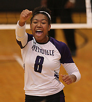 Arkansas Democrat-Gazette/STATON BREIDENTHAL --10/29/19-- Fayetteville's Rosana Hicks reacts after a point Tuesday during their game against Mount St. Mary Academy in the 6A state Volleyball Tournament in Cabot. See more photos at arkansasonline.com/1030volleyball6A/.