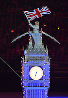 August 12, 2012..Union Jack is flown atop Big Ben during closing ceremony at the Olympic Stadium on the last day of 2012 Olympic Games in London, United Kingdom.