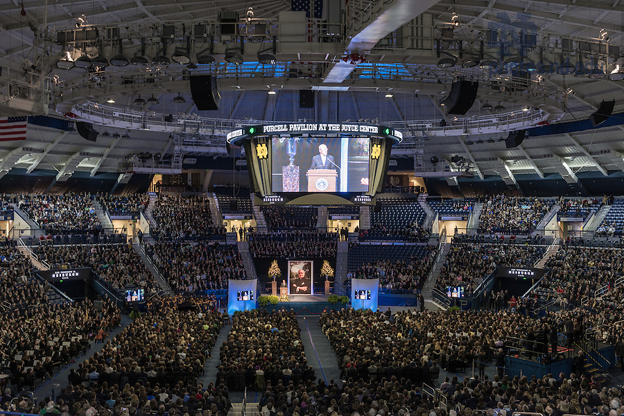 Mar. 4, 2015; Former football coach Lou Holtz speaks at a tribute service in the Purcell Pavilon in honor of the late President Emeritus Rev. Theodore M. Hesburgh, C.S.C.(Photo by Matt Cashore/University of Notre Dame)