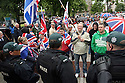 Rival Loyalist Flag Protesters seperated by police lines at Belfast City Hall during protests against the G8 Summit in Belfast, Northern Ireland, 15 June 2013. Leaders from Canada, France, Germany, Italy, Japan, Russia, USA and UK are meeting at Lough Erne in Northern Ireland for the G8 Summit 17-18 June.