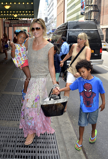 WWW.ACEPIXS.COM . . . . .  ....July 7 2012, New York City....TV personality Heidi Klum takes her children to see 'Newsies' on Broadway on July 7 2012 in New York City....Please byline: CURTIS MEANS - ACE PICTURES.... *** ***..Ace Pictures, Inc:  ..Philip Vaughan (212) 243-8787 or (646) 769 0430..e-mail: info@acepixs.com..web: http://www.acepixs.com