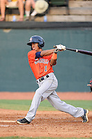 Second baseman Antonio Nunez (1) of the Greeneville Astros bats in a game against the Bristol Pirates on Saturday, July 26, 2014, at DeVault Memorial Stadium in Bristol, Virginia. Greeneville won, 2-1 in Game 1 of a doubleheader. (Tom Priddy/Four Seam Images)