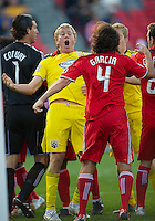16 October 2010: Columbus Crew forward Steven Lenhart #32 and Toronto FC goalkeeper Jon Conway #1 are both given red cards after a confrontation between both players during a game between the Columbus Crew and Toronto FC at BMO Field in Toronto..The game ended in a 2-2 draw.