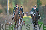 The jockeys and horses from the Kingdom Hunt arrive back safely to Currow village last Sunday evening..
