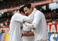 FUSSBALL   1. BUNDESLIGA  SAISON 2011/2012   22. Spieltag 1 FC Nuernberg - 1. FC Koeln       18.02.2012 Jubel nach dem Tor zum 1:1 Milivoje Novakovic (re.) mit Odise Roshi (1. FC Koeln)