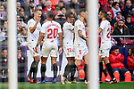 Players of RC Celta de Vigo during La Liga match between Atletico de Madrid and Sevilla FC at Wanda Metropolitano Stadium in Madrid, Spain. March 07, 2020. (ALTERPHOTOS/A. Perez Meca)