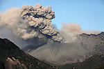 Sakurajima Volcano erupting, with ash cloud rising from Showa Crater of Japan's most active volcano, 2012..