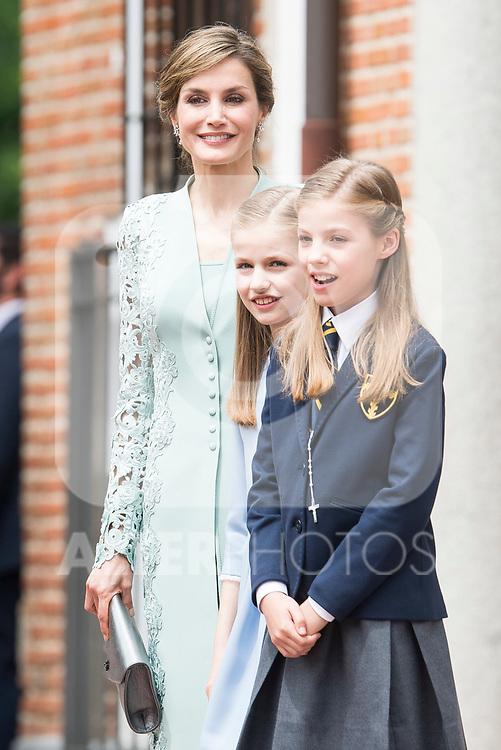 Princess Sofia, Queen Letizia and Princess Leonor during the First Communion of princess Sofia at Asuncion de Nuestra Senora Church in Madrid, May 17, 2017. Spain.<br /> (ALTERPHOTOS/BorjaB.Hojas)