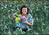 BNPS.co.uk (01202 558833)<br /> Picture: PhilYeomans/BNPS<br /> <br /> Dara O'Doherty the new product development manager at produce world holding the Vitaverde, Ortoli and Grafitti cauliflowers.<br /> <br /> A farmer has launched a campaign to get more vegetables onto people's plates - by turning the common cauliflower bright shades of purple, green and orange.<br /> <br /> The 'rainbow' caulis are part of Andrew Burgess' masterplan to improve the diets of Brits by making vegetables more mouth-watering.<br /> <br /> Andrew hopes the colourful cauliflowers could reinvigorate the nation's love for vegetables - and also attract a new legion of fans.