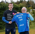 15.03.2019 Andy Halliday with Rangers fan John Sangster who is returning to Ibrox for the first time after suffering a stroke in 2016 as the Rangers Charity Foundation welcome Chest, Heart and Stroke Scotland as partners for the game against Kilmarnock tomorrow