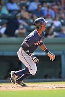 Shortstop Kevin Josephina (39) of the Rome Braves in a game against the Greenville Drive on Sunday, July 31, 2016, at Fluor Field at the West End in Greenville, South Carolina. Rome won, 6-3. (Tom Priddy/Four Seam Images)
