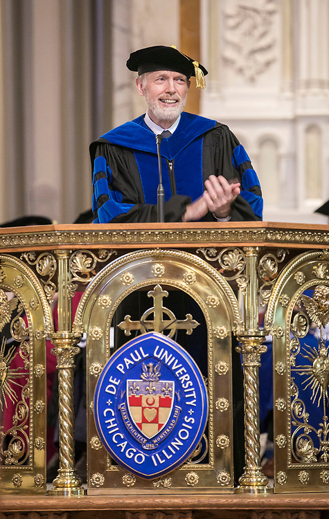 Provost Marten denBoer addresses the faculty and staff gathered in the St. Vincent de Paul Parish Church Thursday, Aug. 31, 2017, during the annual Academic Convocation. (DePaul University/Jamie Moncrief)
