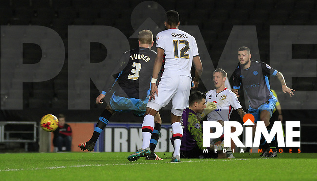 Carl Baker of MK Dons opens the scoring during the Sky Bet Championship match between MK Dons and Sheff Wednesday at stadium:mk, Milton Keynes, England on 15 December 2015. Photo by Liam Smith.