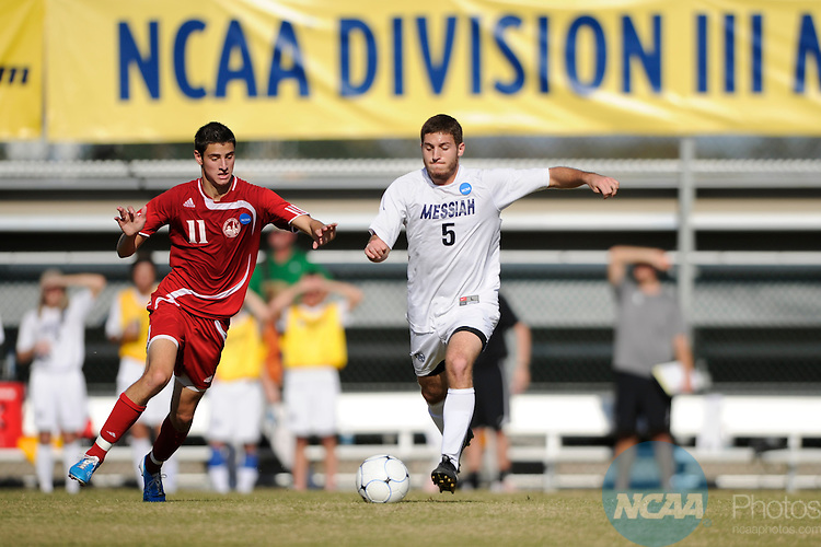 04 DEC 2010: Sheldon Myer (5) of Messiah College races Kyle Symczak (11) of Lynchburg College during the Division III Men's Soccer Championship held at Blossom Soccer Stadium hosted by Trinity University in San Antonio, TX. Messiah defeated Lynchburg 2-1 in overtime for the national title. Brett Wilhelm/NCAA Photos