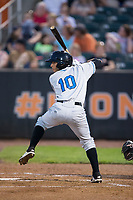 Bill Pujols (10) of the Hudson Valley Renegades at bat against the Aberdeen IronBirds at Leidos Field at Ripken Stadium on July 27, 2017 in Aberdeen, Maryland.  The IronBirds defeated the Renegades 3-0 in game two of a double-header.  (Brian Westerholt/Four Seam Images)