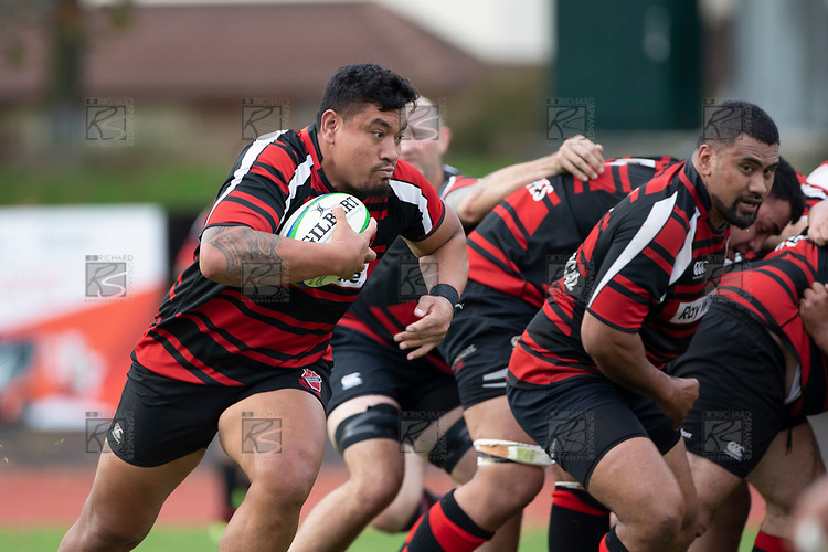 George Crichton makes a run from the back of a scrum for Papakura. Counties Manukau Premier Club Rugby game between Papakura and Karaka played at Massey Park Papakura on Saturday May 5th 2018. Papakuar won the game 28 - 25 after trailing 6 - 12 at halftime.<br /> Papakura - Faalae Peni, Darryl Hemopo, George Crichton, Federick Cain tries, Faalae Peni conversion; Faalae Peni 2 penalties, Karaka -Salesitangi Savelio, Cardiff Vaega, Walter Fifita tries, Juan Benadie 2 conversions, Juan Benadie 2 penalties.<br /> Photo by Richard Spranger.