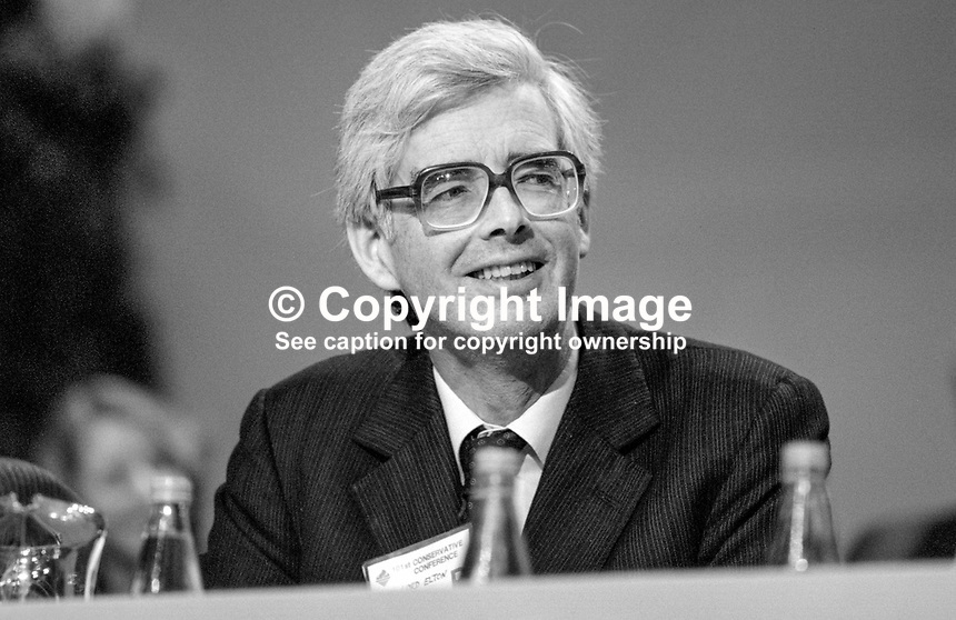 Lord Elton, 2nd Baron, Conservative Party, peer, House of Lords, UK, junior minister, Home Office, on platform at annual conference, Brighton. 19840147LE2..Copyright Image from Victor Patterson, 54 Dorchester Park, Belfast, UK, BT9 6RJ..Tel: +44 28 9066 1296.Mob: +44 7802 353836.Voicemail +44 20 8816 7153.Skype: victorpattersonbelfast.Email: victorpatterson@me.com.Email: victorpatterson@ireland.com (back-up)..IMPORTANT: If you wish to use this image or any other of my images please go to www.victorpatterson.com and click on the Terms & Conditions. Then contact me by email or phone with the reference number(s) of the image(s) concerned.