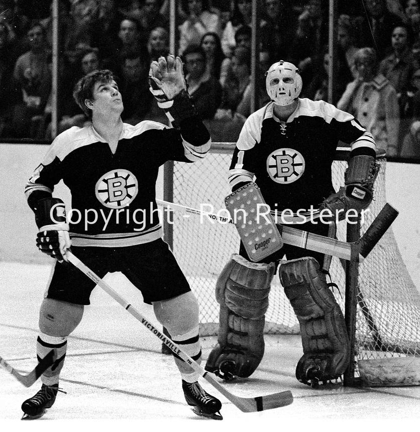 Boston Bruins Bobby Orr and goalie Ed Johnston..(1971 photo/Ron Riesterer)