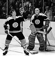 Boston Bruins Bobby Orr and goalie Ed Johnston..(1971 photo/Ron Riesterer)