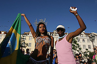 Brazilian´s drag  queen Cinaire (L) and  Ricardo Paulino (R) during Gay Pride down town  Lisbon 25 June 2005..