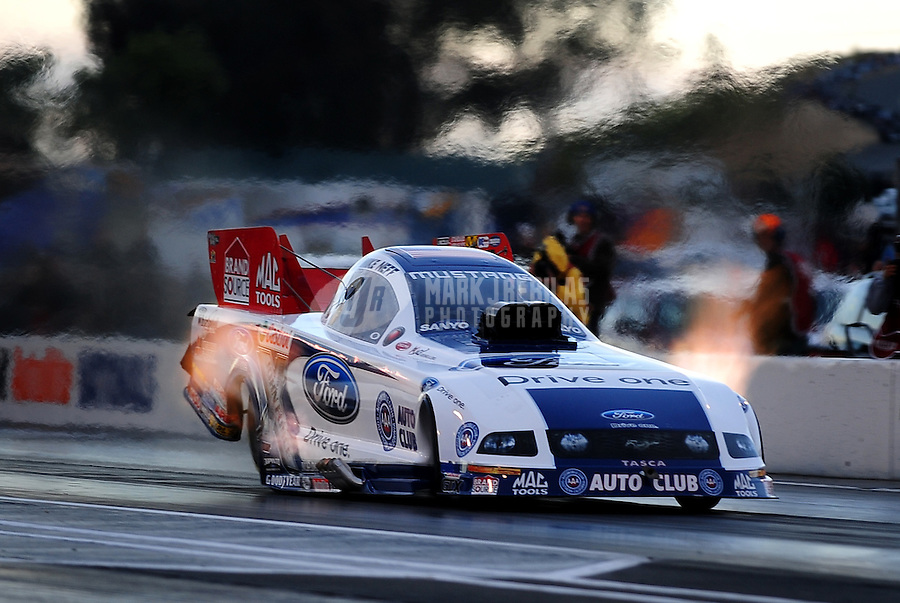 Jul. 24, 2009; Sonoma, CA, USA; NHRA funny car driver Mike Neff during qualifying for the Fram Autolite Nationals at Infineon Raceway. Mandatory Credit: Mark J. Rebilas-